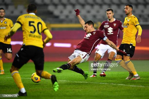 Andrea Belotti of Torino F.C. Scores their team's first goal during the Serie A match between Torino FC and Udinese Calcio at Stadio Olimpico di...