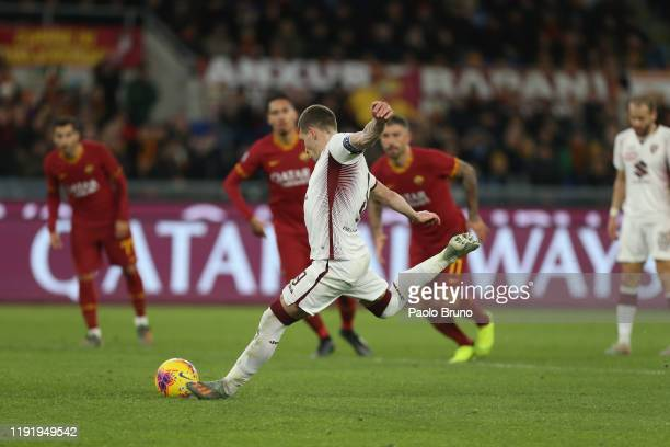 Andrea Belotti of Torino FC scoring the team's second goal from penalty spot during the Serie A match between AS Roma and Torino FC at Stadio...