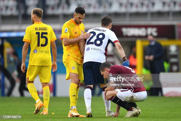 Andrea Belotti of Torino FC shows his dejection at the end of the Serie A match between Torino FC and Cagliari Calcio at Stadio Olimpico di Torino on...