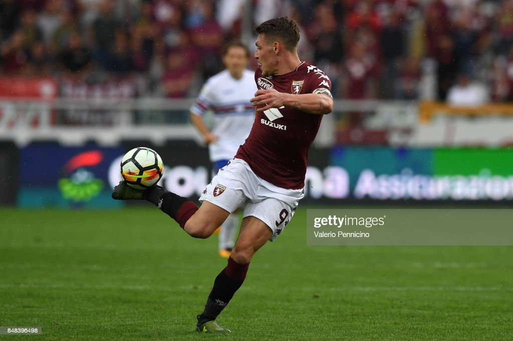 Andrea Belotti of Torino FC strikes with the heel during the Serie A match between Torino FC and UC Sampdoria at Stadio Olimpico di Torino on September 17, 2017 in Turin, Italy.