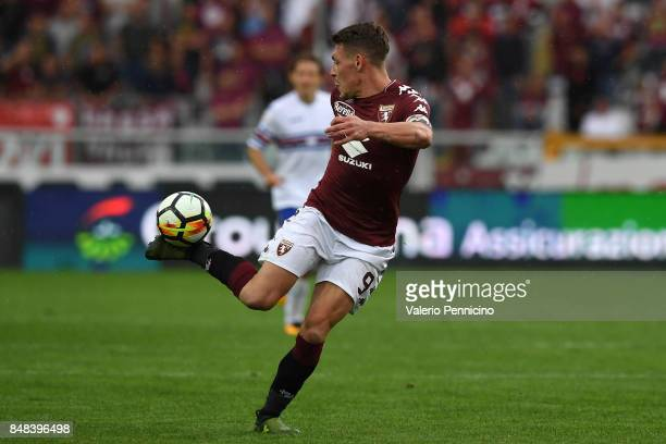Andrea Belotti of Torino FC strikes with the heel during the Serie A match between Torino FC and UC Sampdoria at Stadio Olimpico di Torino on...