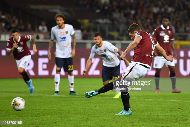 Andrea Belotti of Torino FCscores his goal from the penalty spot during the Serie A match between Torino FC and US Lecce at Stadio Olimpico di Torino...