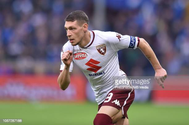 Andrea Belotti of Torino in action during the Serie A match between UC Sampdoria and Torino FC at Stadio Luigi Ferraris on November 4 2018 in Genoa...