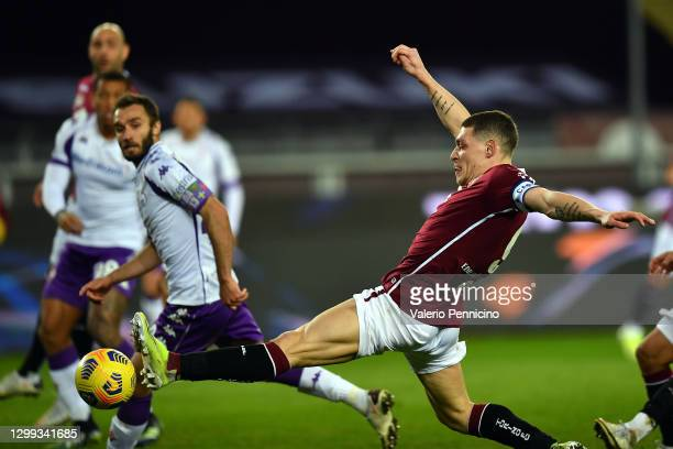 Andrea Belotti of Torino scores during the Serie A match between Torino FC and ACF Fiorentina at Stadio Olimpico di Torino on January 29, 2021 in...