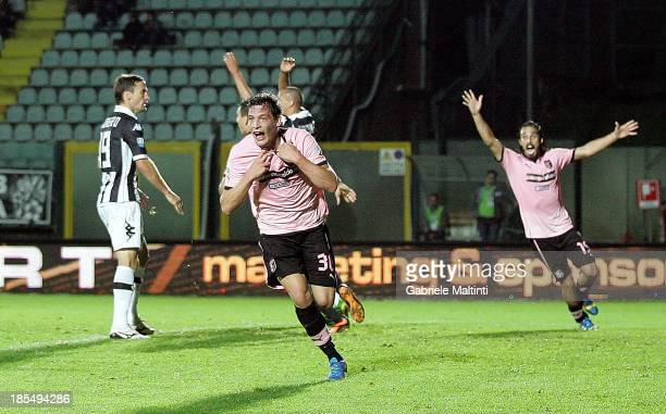 Andrea Belotti of US Citta di Palermo celebrates after scoring the winning goal during the Serie B match between AC Siena and US Citta di Palermo at...