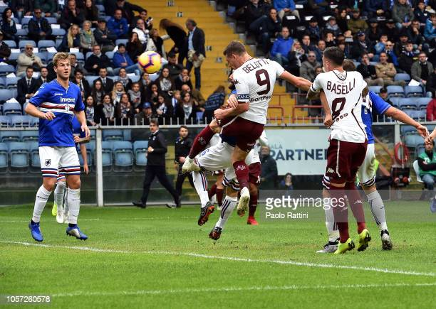 Andrea Belotti score his first goal during the Serie A match between UC Sampdoria and Torino FC at Stadio Luigi Ferraris on November 4 2018 in Genoa...