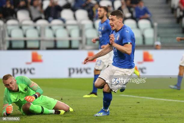 Andrea Belotti scores a goal subsequently canceled by the referee during the friendly football match between Italy and Holland at Allianz Stadium on...