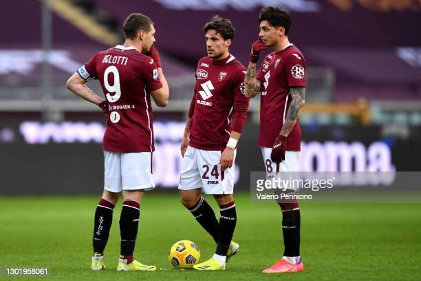 Andrea Belotti, Simone Verdi and Daniele Baselli of Torino FC interact following the Serie A match between Torino FC and Genoa CFC at Stadio Olimpico...