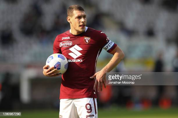 Andrea Belotti waits to take a penalty during the Serie A match between Torino FC and Cagliari Calcio at Stadio Olimpico di Torino on October 18 2020...