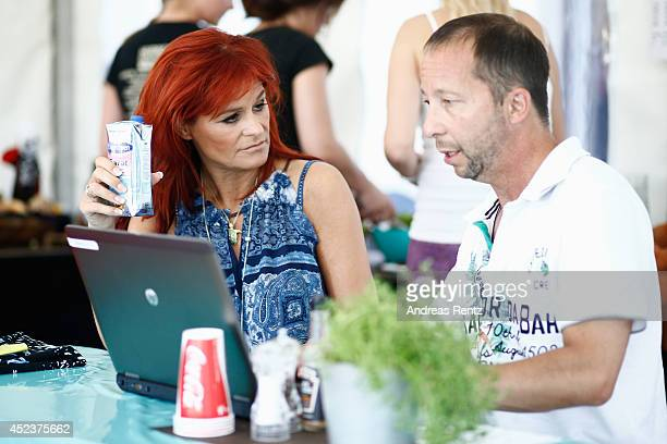 Andrea Berg and DJ Bobo are seen backstage during the Andrea Berg Open Air festival 'Heimspiel' at mechatronik Arena on July 18 2014 in Grossaspach...