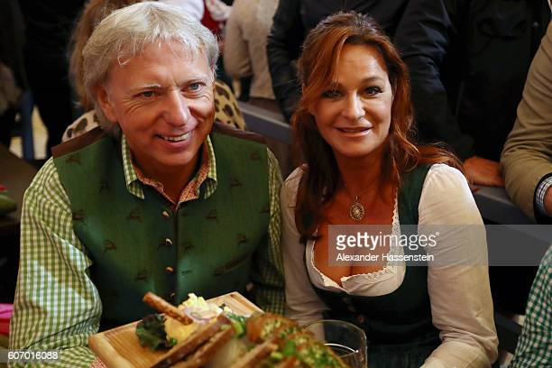 Andrea Berg and her husband Uli Ferber attend the 2016 Oktoberfest beer festival opening at Theresienwiese on September 17 2016 in Munich Germany The...