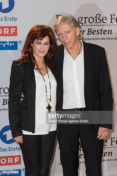 Andrea Berg and her husband Uli Ferber attend the 'Das grosse Fest der Besten' tv show at Velodrom on January 9 2016 in Berlin Germany