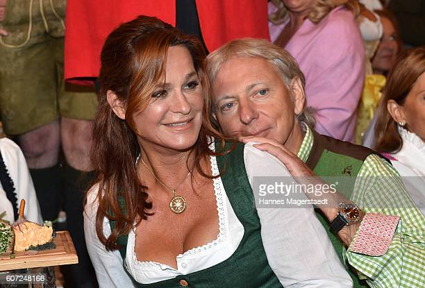 Andrea Berg and her husband Uli Ferber during the opening of the 2016 Oktoberfest beer festival in the Schottenhamel tent at Theresienwiese on...