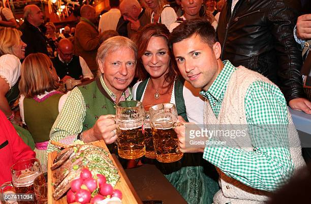 Andrea Berg and her husband Uli, Ulrich Ferber and her stepson and manager Andreas Ferber during the opening of the oktoberfest 2016 at the...