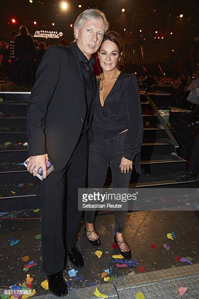 Andrea Berg and her husband Uli, Ulrich Ferber are seen on stage at the 'Das grosse Fest der Besten' tv show at Velodrom on January 7, 2017 in...