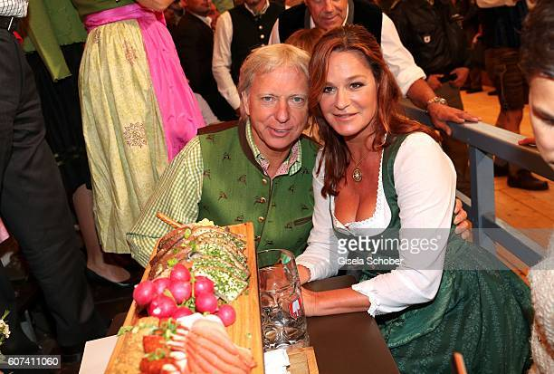 Andrea Berg and her husband Uli Ulrich Ferber during the opening of the oktoberfest 2016 at the Schottenhamel beer tent at Theresienwiese on...
