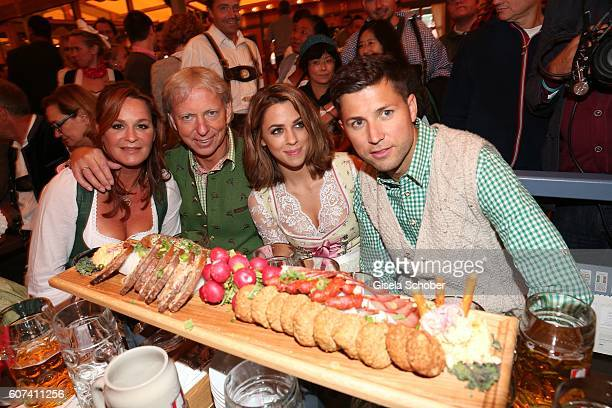 Andrea Berg and her husband Uli, Ulrich Ferber, her stepson Andreas Ferber with his girlfriend Vanessa Mai during the opening of the oktoberfest 2016...