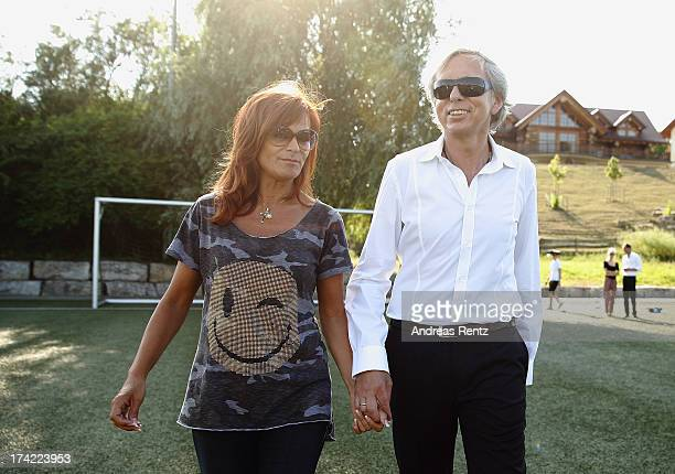 Andrea Berg and husband Uli Ferber look on prior to the Andrea Berg Open Air festival 'Heimspiel' at comtech Arena on July 20 2013 in Aspach near...