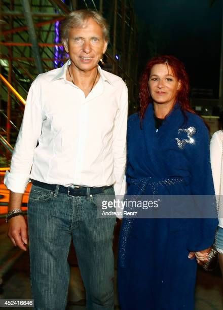 Andrea Berg and Uli Ferber seen after the Andrea Berg Open Air festival 'Heimspiel' at mechatronik Arena on July 19 2014 in Grossaspach Germany