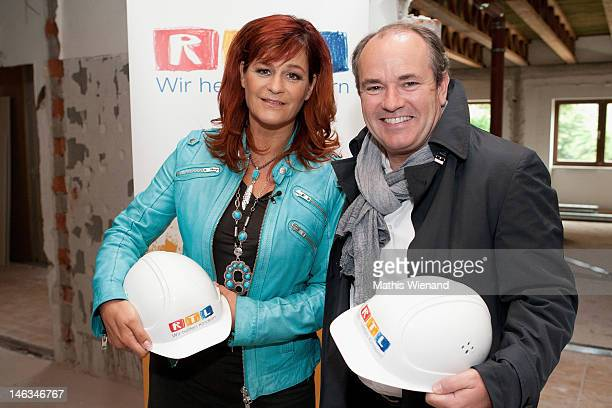 Andrea Berg and Wolfram Kons visit the Stups Children Center for the RTL Charity Marathon on June 13 2012 in Krefeld Germany