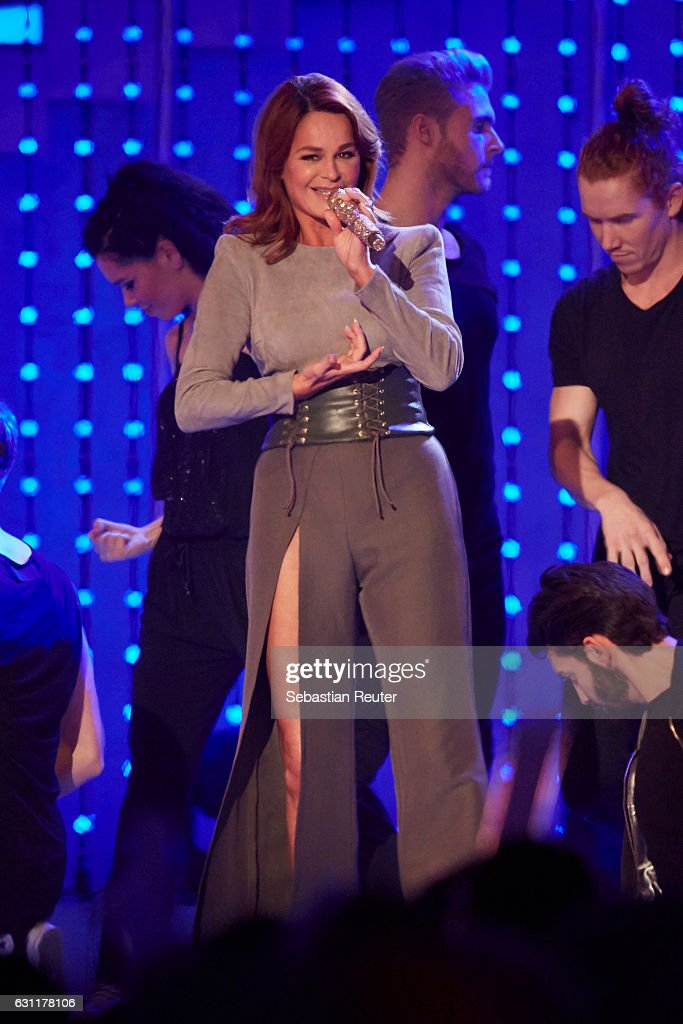 Andrea Berg is seen on stage at the 'Das grosse Fest der Besten' tv show at Velodrom on January 7, 2017 in Berlin, Germany.