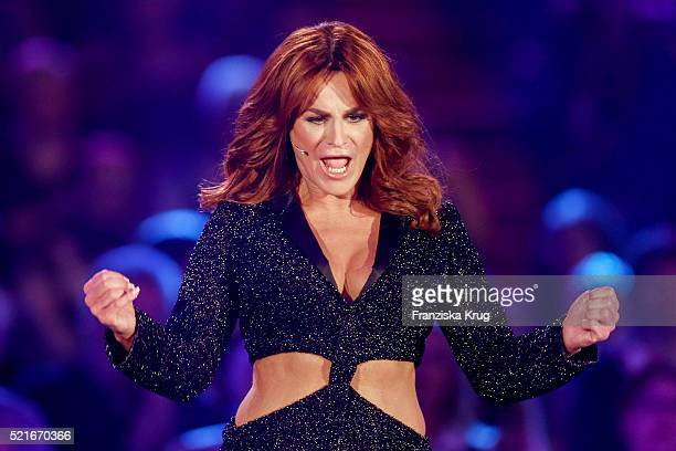 Andrea Berg performs at the 'Das grosse Schlagerfest Die ueberraschende Show der Besten mit Florian Silbereisen' on April 16 2016 in Halle Germany