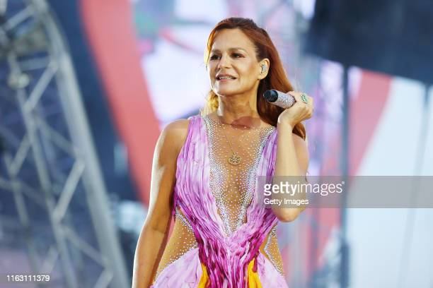 Andrea Berg performs during the Andrea Berg Heimspiel Open Air 2019 at Mechatronik Arena on July 19, 2019 in Grossaspach, Germany.
