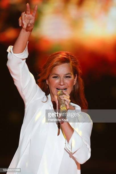 Andrea Berg performs during the television show 'Willkommen bei Carmen Nebel' at Velodrom on September 29 2018 in Berlin Germany