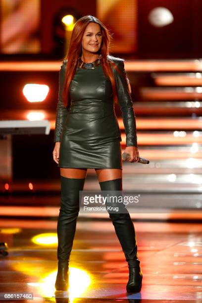 Andrea Berg performs on stage at the tv show 'Willkommen bei Carmen Nebel' at Velodrom on May 20 2017 in Berlin Germany