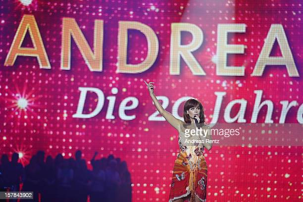 Andrea Berg performs on stage during the Andrea Berg 'Die 20 Jahre Show' at Baden Arena on December 6, 2012 in Offenburg, Germany.
