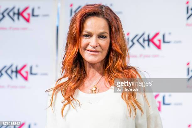 Andrea Berg talks to the media during the press conference ahead of the 'Top Of The Mountain' concert on November 25, 2017 in Ischgl, Austria.