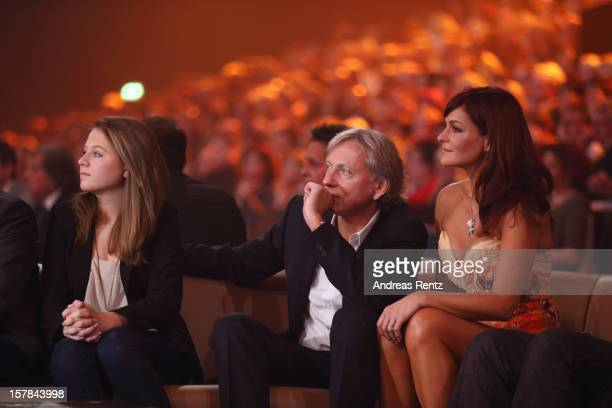 Andrea Berg with her husband Uli Ferber and daughter Lena Maria attend the Andrea Berg 'Die 20 Jahre Show' at Baden Arena on December 6, 2012 in...