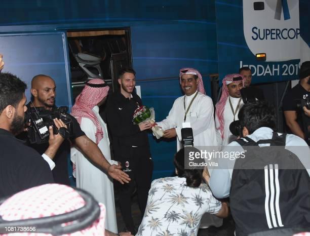 Andrea Bertolacci of AC Milan arrives to Jeddah King Abdulaziz International Airport before the Italian Supercup between Juventus FC and AC Milan on...
