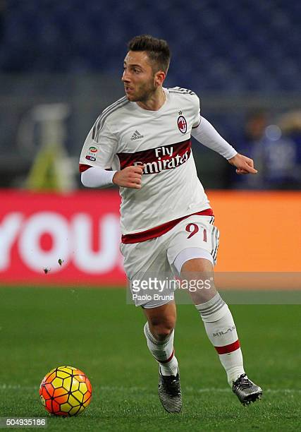 Andrea Bertolacci of AC Milan in action during the Serie A match between AS Roma and AC Milan at Stadio Olimpico on January 9 2016 in Rome Italy