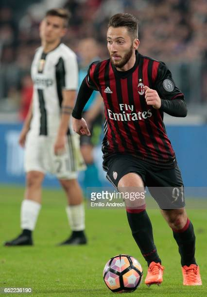 Andrea Bertolacci of AC Milan in action during the Serie A match between Juventus FC and AC Milan at Juventus Stadium on March 10 2017 in Turin Italy