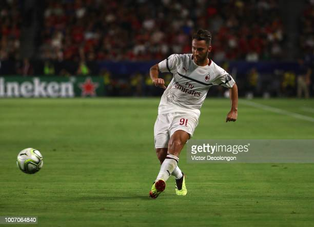 Andrea Bertolacci of AC Milan passes the ball forward during the International Champions Cup 2018 match against Manchester United at StubHub Center...