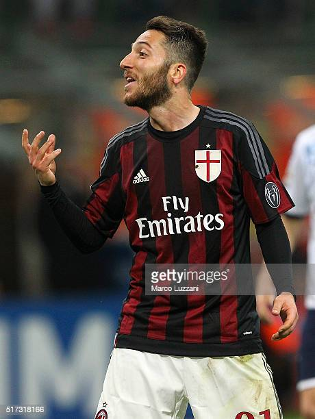 Andrea Bertolacci of AC Milan reacts during the Serie A match between AC Milan and SS Lazio at Stadio Giuseppe Meazza on March 20 2016 in Milan Italy