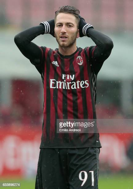 Andrea Bertolacci of AC Milan reacts during the Serie A match between AC Milan and UC Sampdoria at Stadio Giuseppe Meazza on February 5 2017 in Milan...