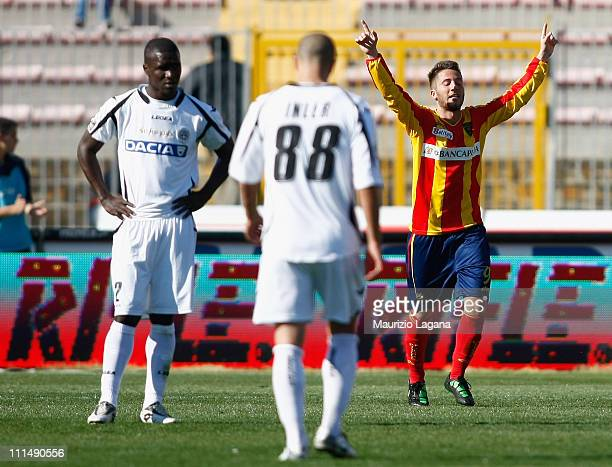 Andrea Bertolacci of Lecce celebrates after scoring his second goal bringing the score to 20 during the Serie A match between US Lecce and Udinese...
