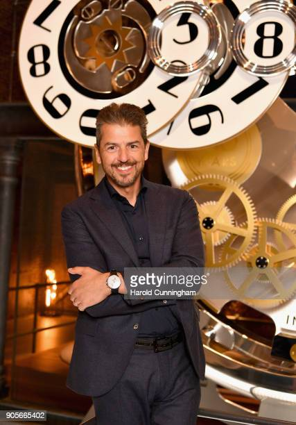 Andrea Berton visits the IWC booth during the Maison's launch of its Jubilee Collection at the Salon International de la Haute Horlogerie on January...