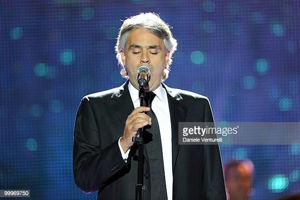 Andrea Boccelli performs on stage during the World Music Awards 2010 at the Sporting Club on May 18 2010 in Monte Carlo Monaco