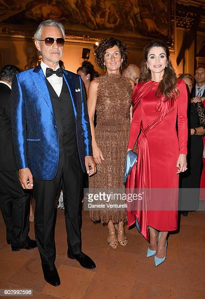 Andrea Bocelli, Agnese Renzi and Queen Rania of Jordan attend the Celebrity Fight Night gala at Palazzo Vecchio as part of Celebrity Fight Night...