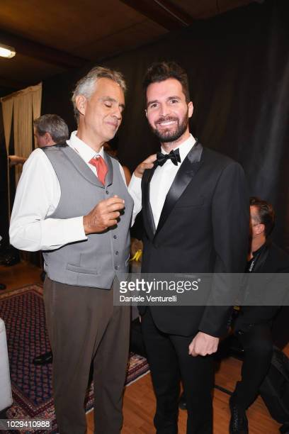 Andrea Bocelli and Andrea Iervolino attend Celebrity Fight Night at Arena di Verona on September 8 2018 in Verona Italy