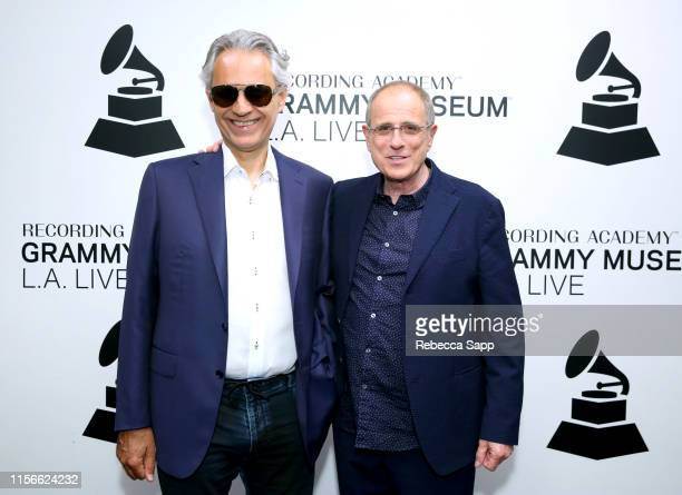 Andrea Bocelli and Bob Ezrin attend A Conversation With Andrea Bocelli Matteo Bocelli Bob Ezrin at the GRAMMY Museum on June 17 2019 in Los Angeles...
