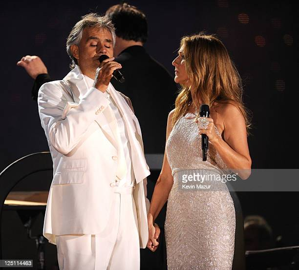 Andrea Bocelli and Celine Dion perform at the Central Park Great Lawn on September 15 2011 in New York City