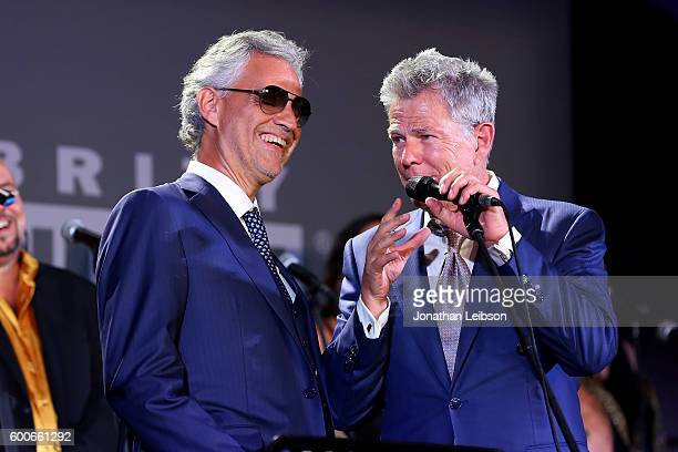 Andrea Bocelli and David Foster attend the Basilica di Santa Croce Dinner and Reception as part of Celebrity Fight Night Italy benefitting the Andrea...
