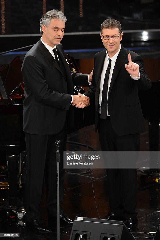 Andrea Bocelli and Fabio Fazio attend the closing night of the 63rd Sanremo Song Festival at the Ariston Theatre on February 16, 2013 in Sanremo, Italy.