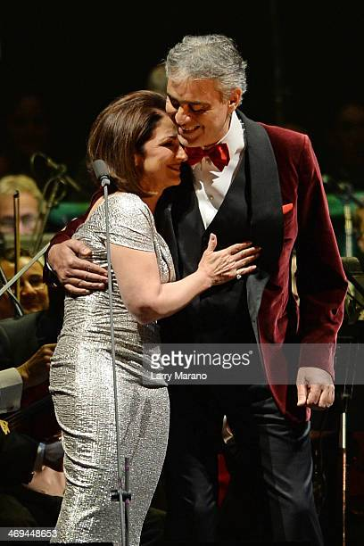 Andrea Bocelli and Gloria Estefan perform during Bocelli's Valentines Day concert at BBT Center on February 14 2014 in Sunrise Florida