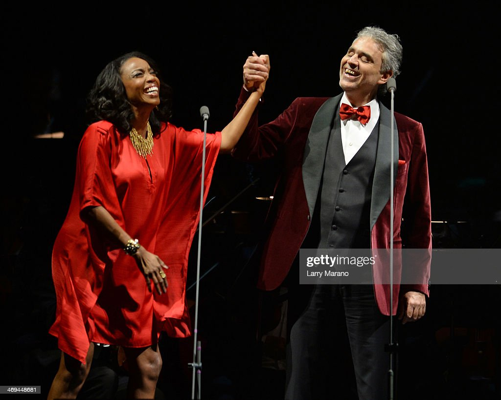 Andrea Bocelli and Heather Headley perform during Bocelli's Valentines Day concert at BB&T Center on February 14, 2014 in Sunrise, Florida.
