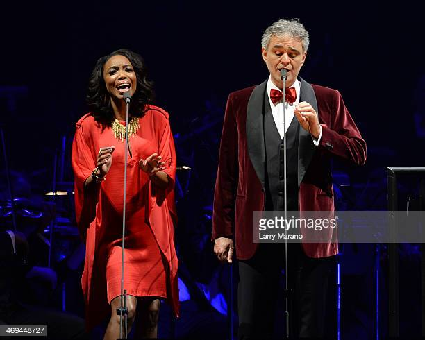 Andrea Bocelli and Heather Headley perform during Bocelli's Valentines Day concert at BBT Center on February 14 2014 in Sunrise Florida